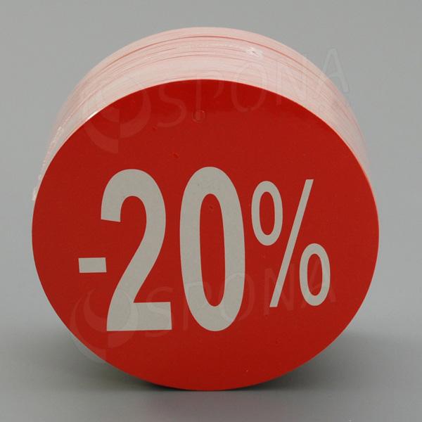 """Visačky SKONTO KRUH 80, """"-20%"""", červené, 80 ks"""
