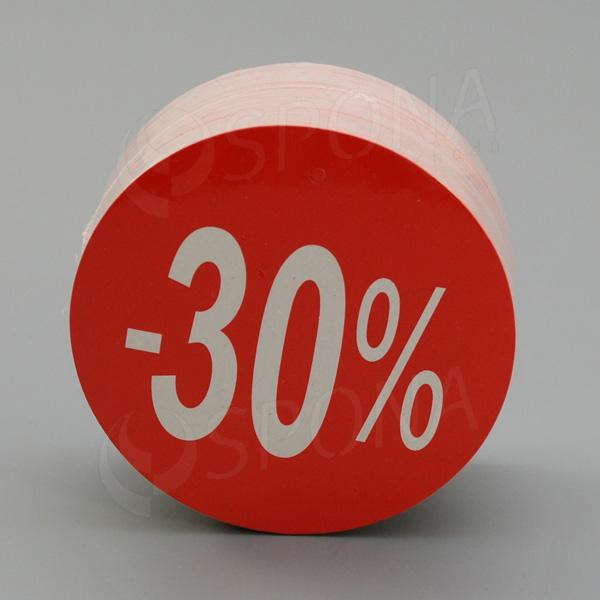 """Visačky SKONTO KRUH 80, """"-30%"""", červené, 80 ks"""