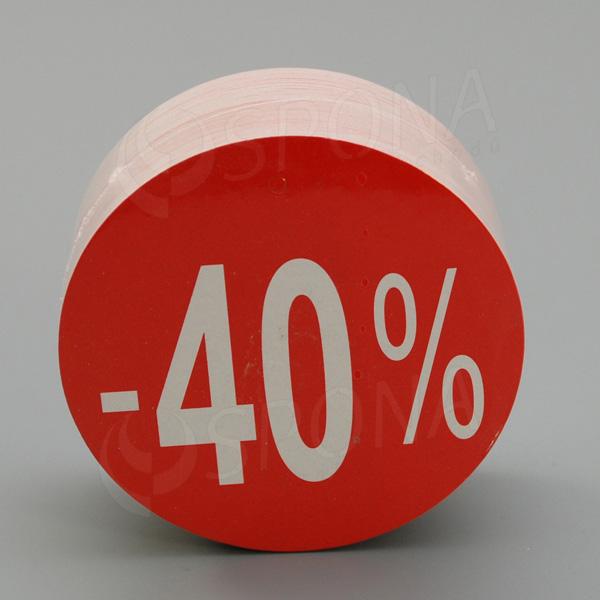 """Visačky SKONTO KRUH 80, """"-40%"""", červené, 80 ks"""