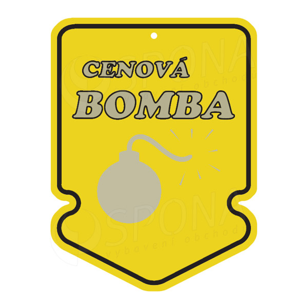 "Visačky SKONTO ŠIPKA 43 x 60 mm, ""CENOVÁ BOMBA"", žluté, 250 ks"
