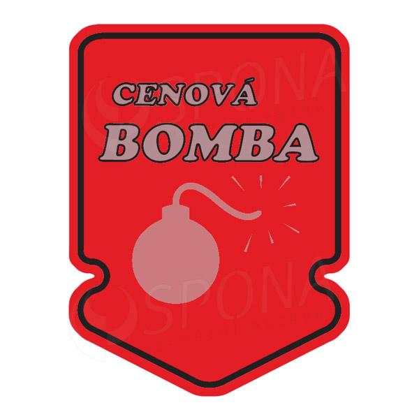 "Visačky SKONTO ŠIPKA 43 x 60 mm, ""CENOVÁ BOMBA"", červené, 250 ks"