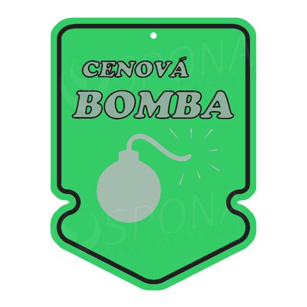 """Visačky SKONTO ŠIPKA 43 x 60 mm, """"CENOVÁ BOMBA"""", zelené, 250 ks"""
