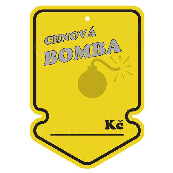 "Visačky SKONTO ŠIPKA 105 x 150 mm, ""CENOVÁ BOMBA"", žluté, 50 ks"