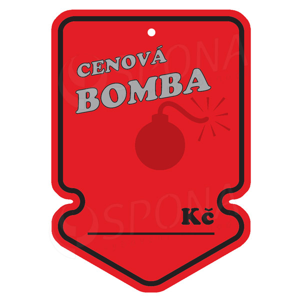 "Visačky SKONTO ŠIPKA 105 x 150 mm, ""CENOVÁ BOMBA"", červené, 50 ks"