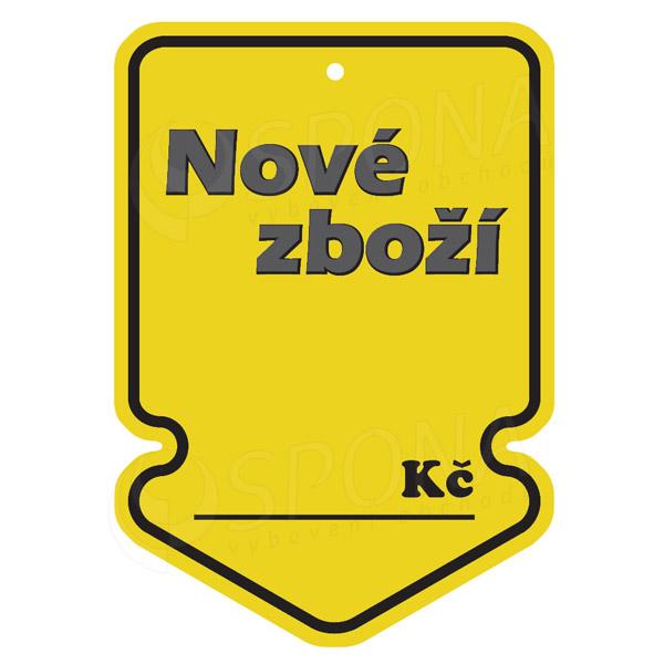 Visačky SKONTO ŠIPKA 105 x 150, NOVÉ ZBOŽÍ, žluté, 50 ks