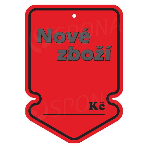 Visačky SKONTO ŠIPKA 105 x 150, NOVÉ ZBOŽÍ, červené, 50ks
