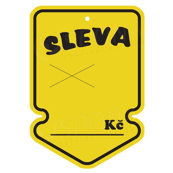 """Visačky SKONTO ŠIPKA 105 x 150 mm, """"SLEVA"""", žluté, 50 ks"""
