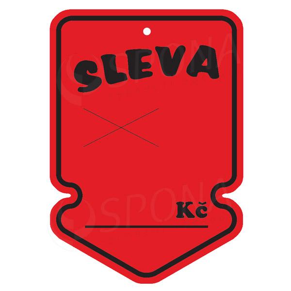 """Visačky SKONTO ŠIPKA 105 x 150 mm, """"SLEVA"""", červené, 50 ks"""