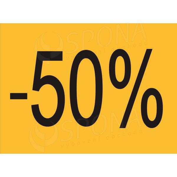 """BANNER SKONTO 650 x 480 mm, """"-50%"""", žlutý, černý tisk, 2 ks"""