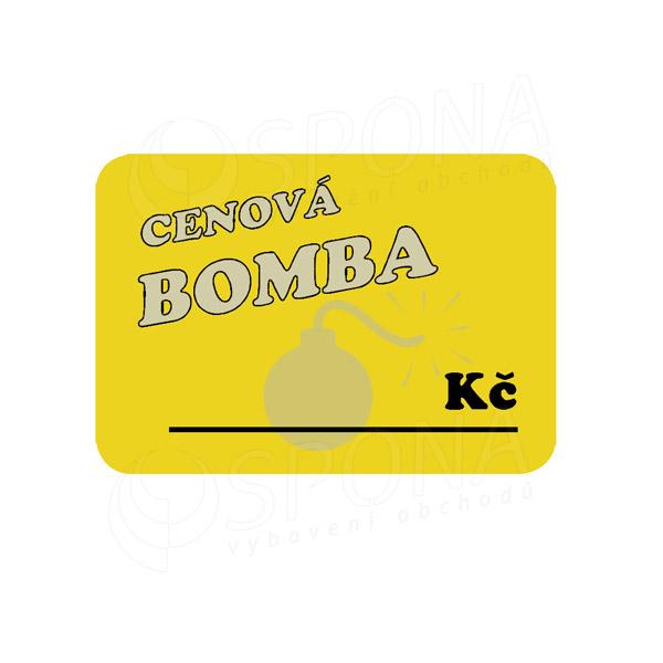 """Cenovky DREAMER 75 x 52 mm, """"CENOVÁ BOMBA"""", žluté, 100 ks"""