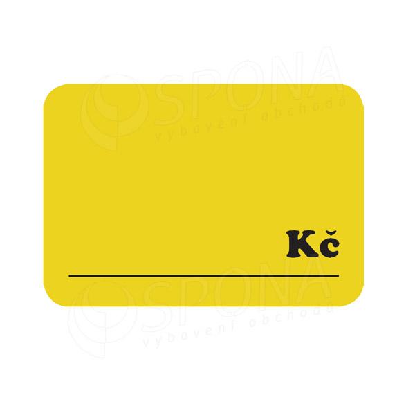 """Cenovky DREAMER 75 x 52 mm, """"Kč"""", žluté, 100 ks"""