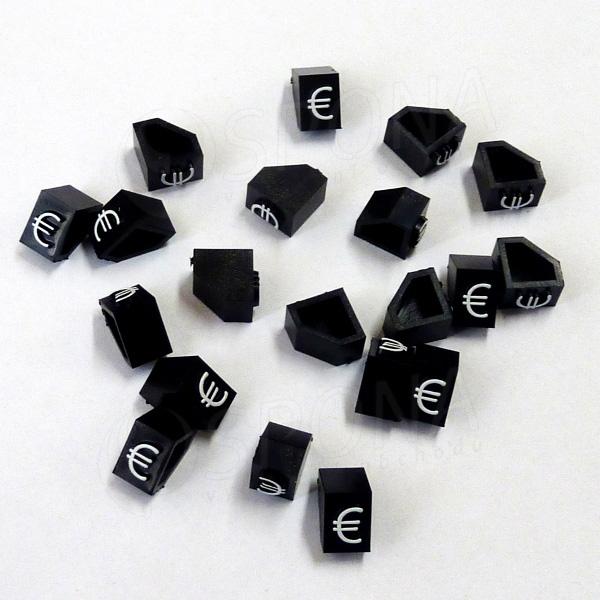 Cenovky Q 2D, 4 x 6 mm, náhradní znak €, 20 ks, bílý prolis