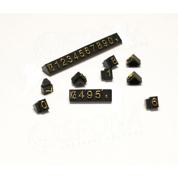 Cenovky Q 3D, 6 x 9 mm, sada 240 čísel + Kč, zlatý prolis