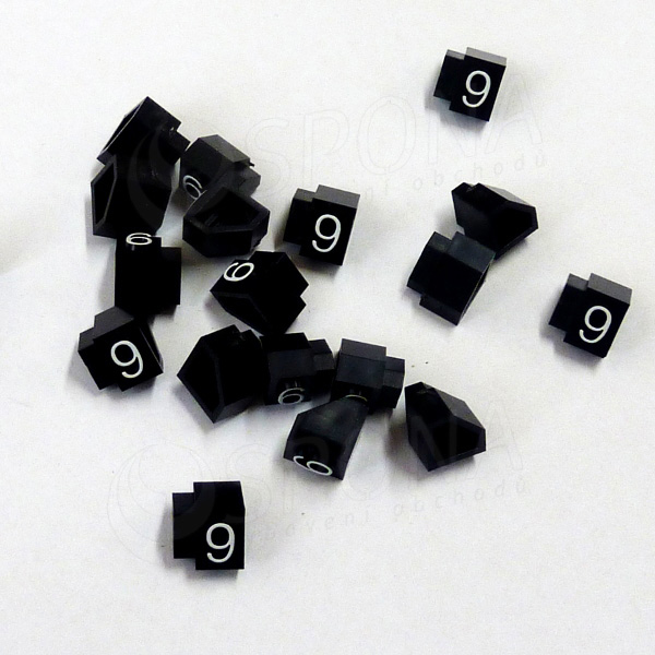 Cenovky Q 3D, 6 x 9 mm, náhradní číslo 9, 20 ks, bílý prolis
