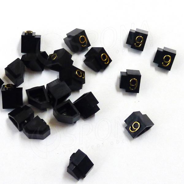 Cenovky Q 3D, 6 x 9 mm, náhradní číslo 9, 20 ks, zlatý prolis