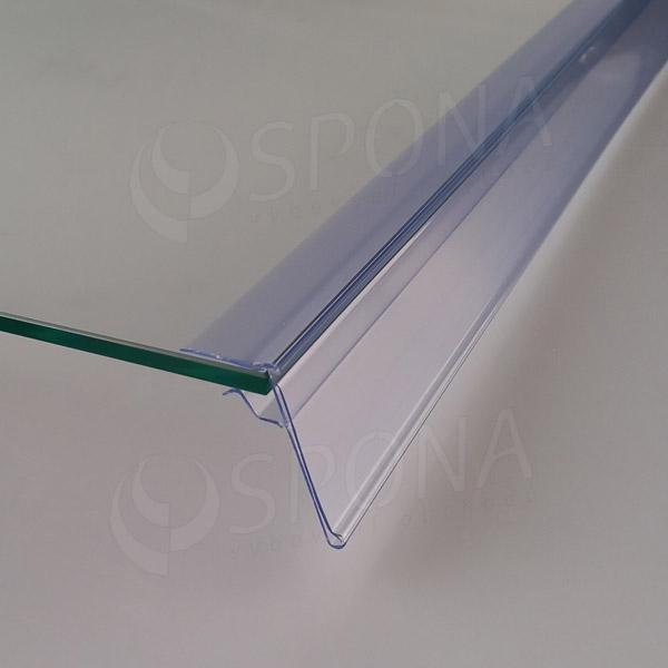 Cenovková lišta na polici 5-10 mm, 60 mm x 998 mm, sklon 15°, transparentní