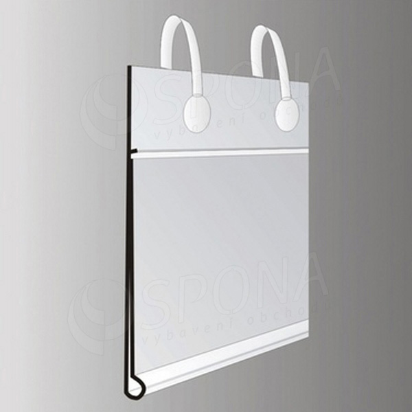 Cenovková lišta 40 x 70 mm, závěsná s úchyty, transparentní
