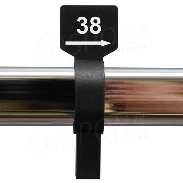 Velikostní jezdec 38 černý, bílý tisk