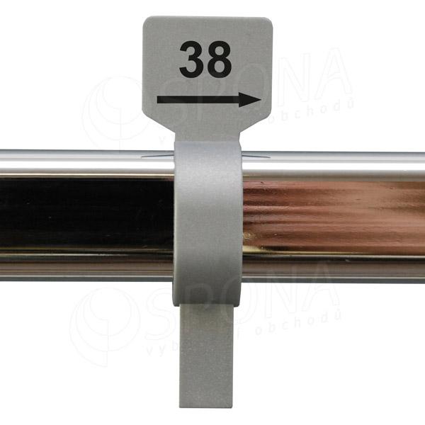 Velikostní jezdec 38 stříbrný, černý tisk