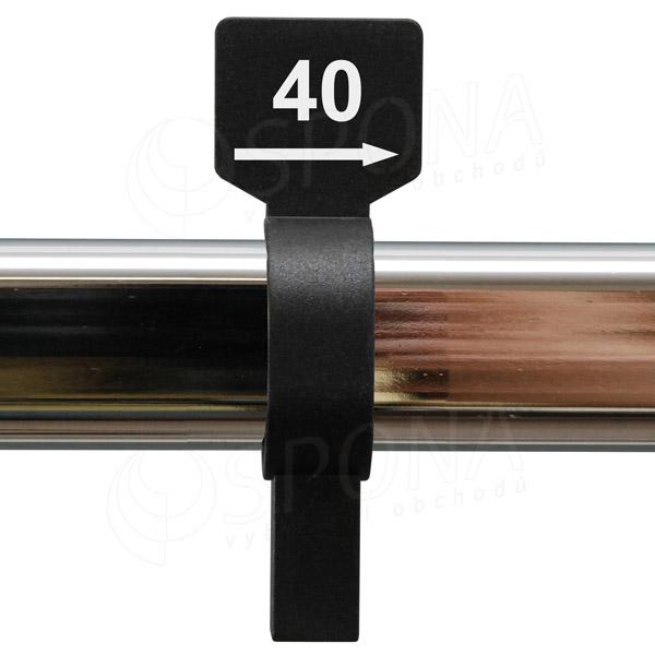 Velikostní jezdec 40 černý, bílý tisk