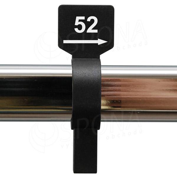 Velikostní jezdec 52 černý, bílý tisk