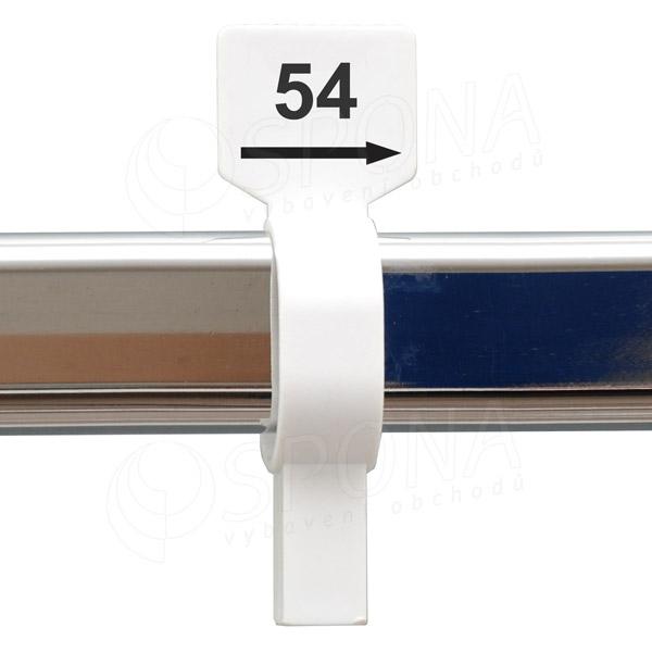Velikostní jezdec 54 bílý, černý tisk