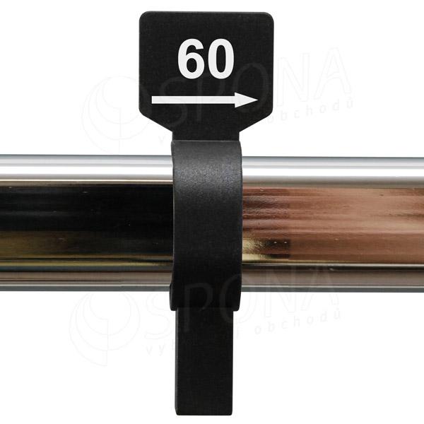 Velikostní jezdec 60 černý, bílý tisk