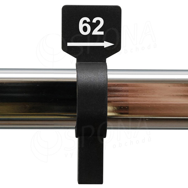 Velikostní jezdec 62 černý, bílý tisk