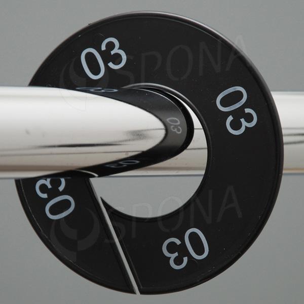 Velikostní kruhy 03 černé, bílé písmo