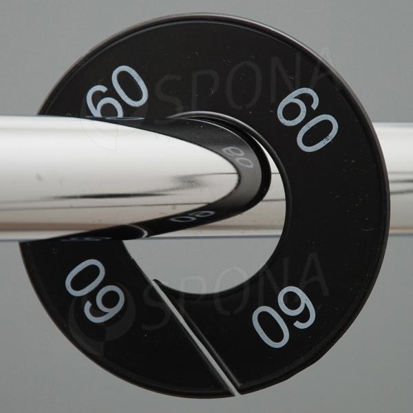 Velikostní kruhy 09 černé, bílé písmo
