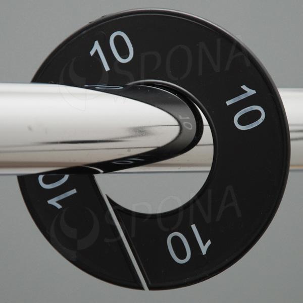 Velikostní kruhy 10 černé, bílé písmo