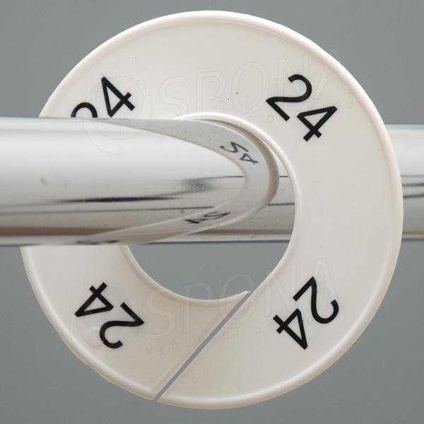 Velikostní kruhy 24 bílé, černé písmo
