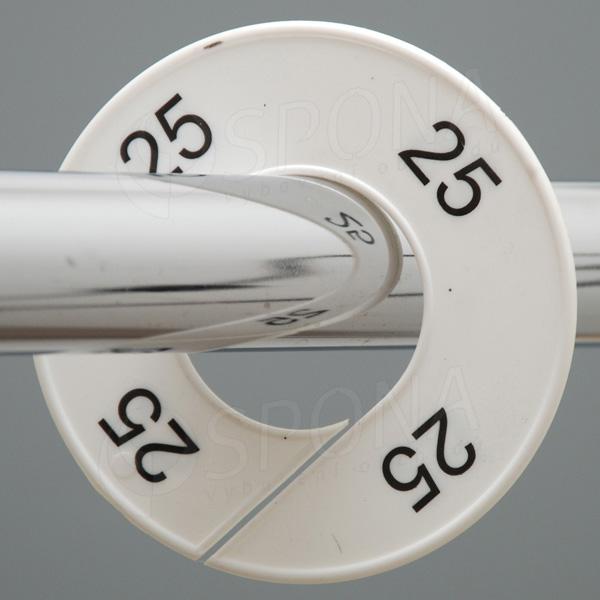 Velikostní kruhy 25 bílé, černé písmo