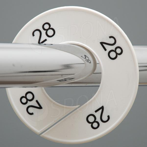 Velikostní kruhy 28 bílé, černé písmo