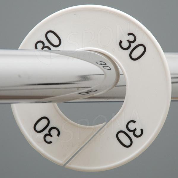 Velikostní kruhy 30 bílé, černé písmo
