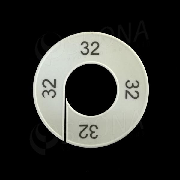 Velikostní kruhy 32 bílé, černé písmo