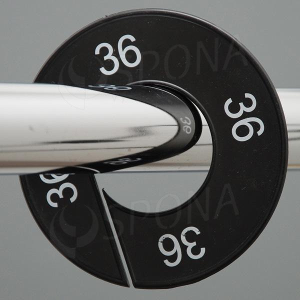 Velikostní kruhy 36 černé, bílé písmo