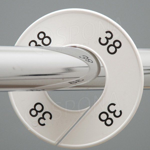 Velikostní kruhy 38 bílé, černé písmo