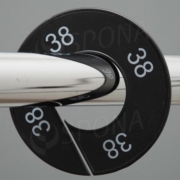 Velikostní kruhy 38 černé, bílé písmo