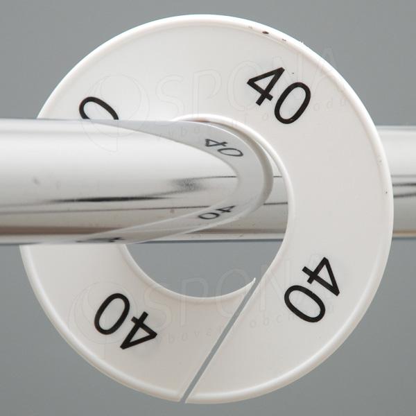 Velikostní kruhy 40 bílé, černé písmo