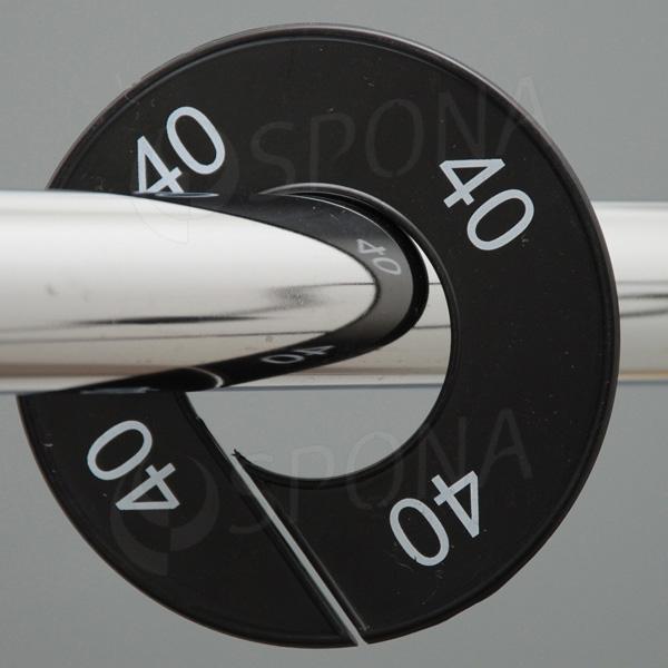 Velikostní kruhy 40 černé, bílé písmo