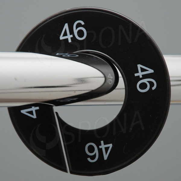 Velikostní kruhy 46 černé, bílé písmo