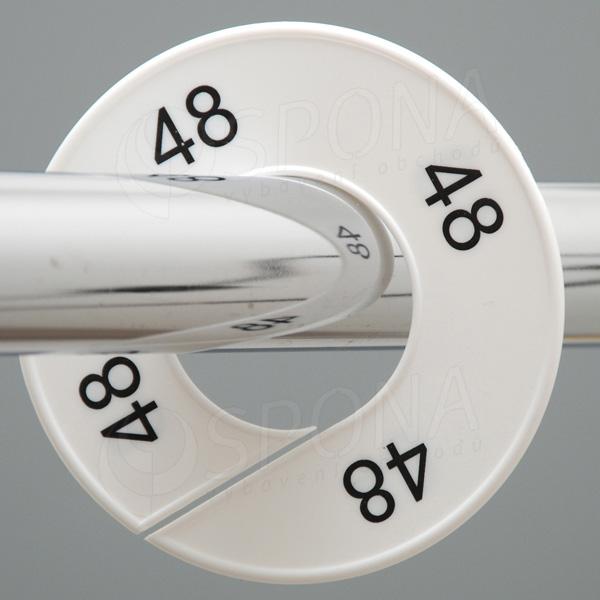Velikostní kruhy 48 bílé, černé písmo
