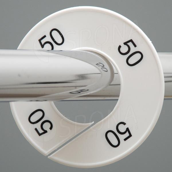 Velikostní kruhy 50 bílé, černé písmo
