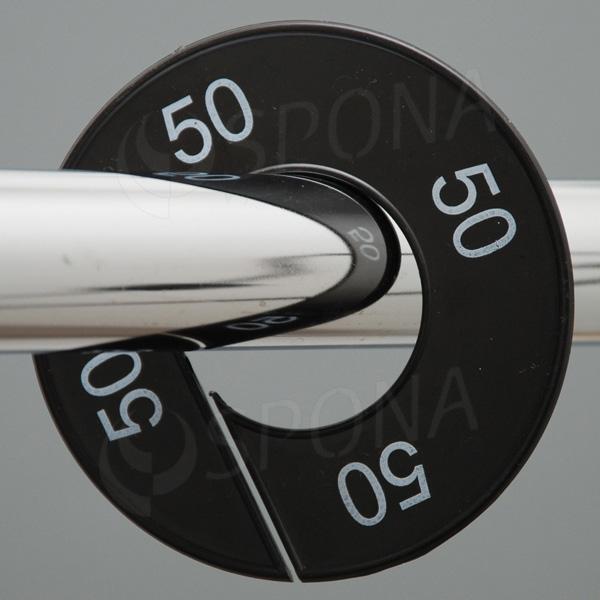 Velikostní kruhy 50 černé, bílé písmo