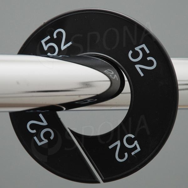 Velikostní kruhy 52 černé, bílé písmo