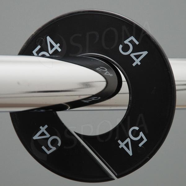 Velikostní kruhy 54 černé, bílé písmo