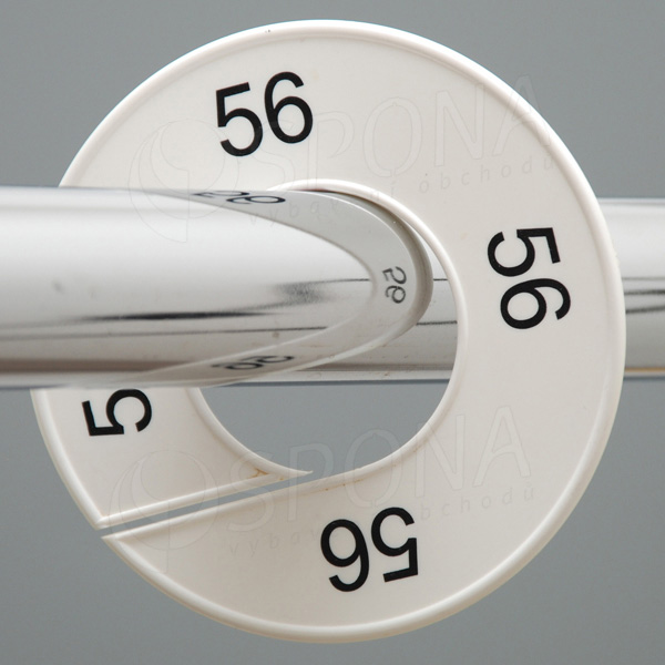 Velikostní kruhy 56 bílé, černé písmo