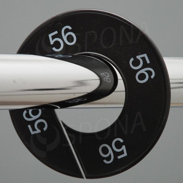 Velikostní kruhy 56 černé, bílé písmo