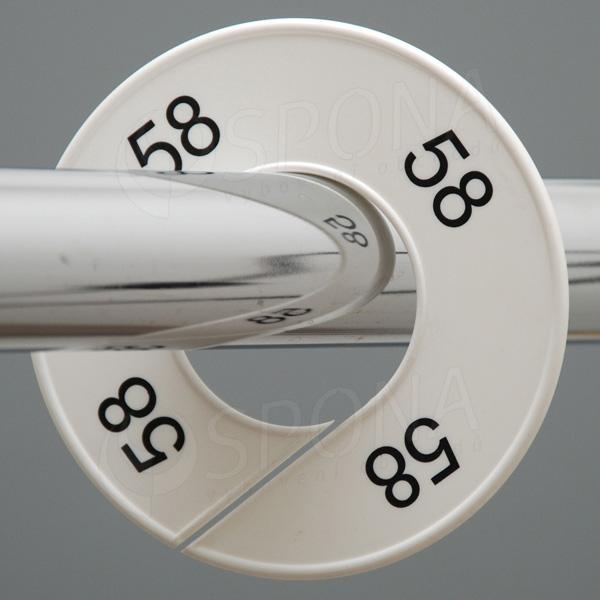 Velikostní kruhy 58 bílé, černé písmo
